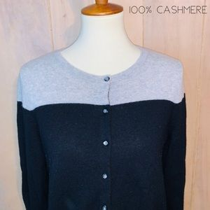 Apt, 9 Black & Gray 100% Cashmere Cardigan Sweater
